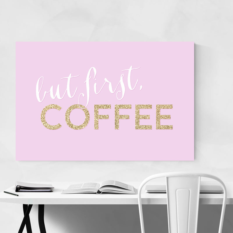 Pink Coffee Kitchen Typography  Metal Art Print