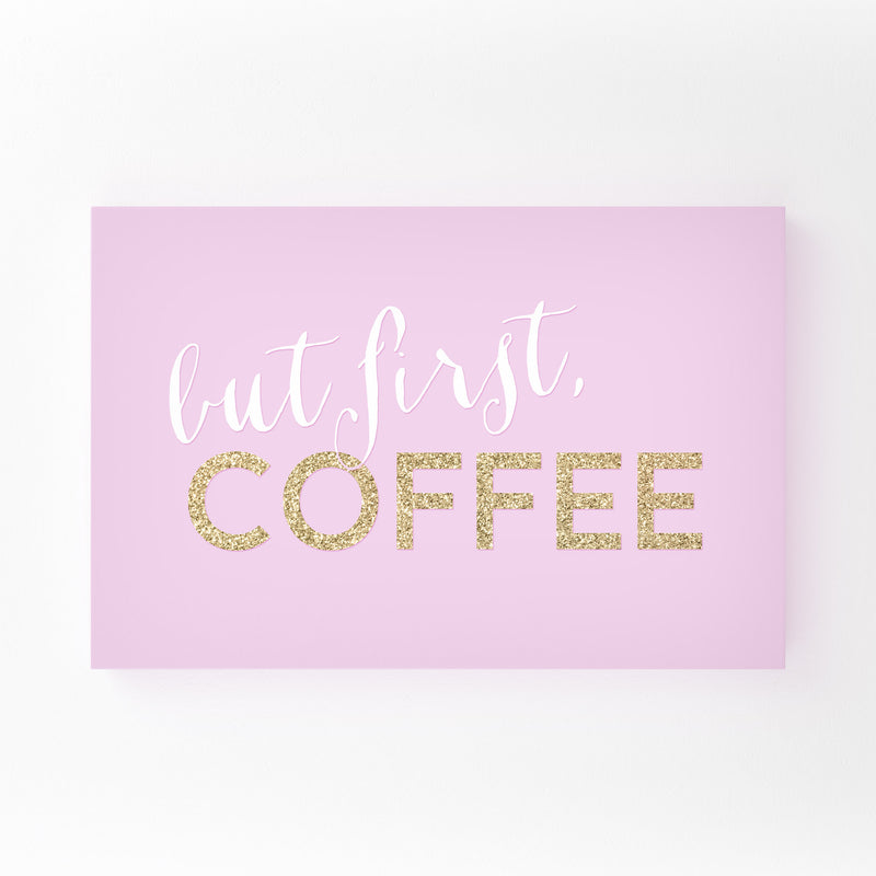 Pink Coffee Kitchen Typography  Canvas Art Print