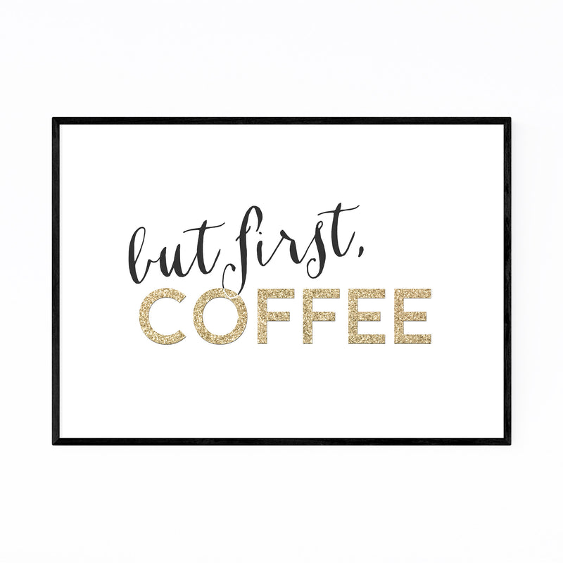 Gold Coffee Kitchen Typography  Framed Art Print