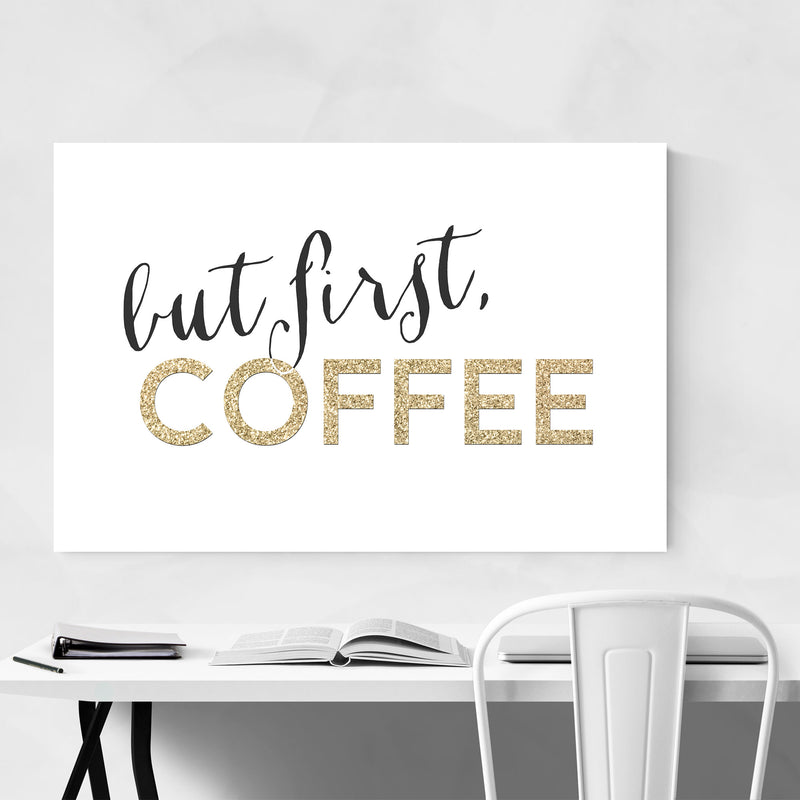 Gold Coffee Kitchen Typography  Metal Art Print