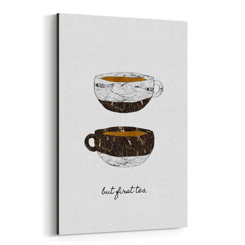 Cute Tea Cup Kitchen Typography Canvas Art Print
