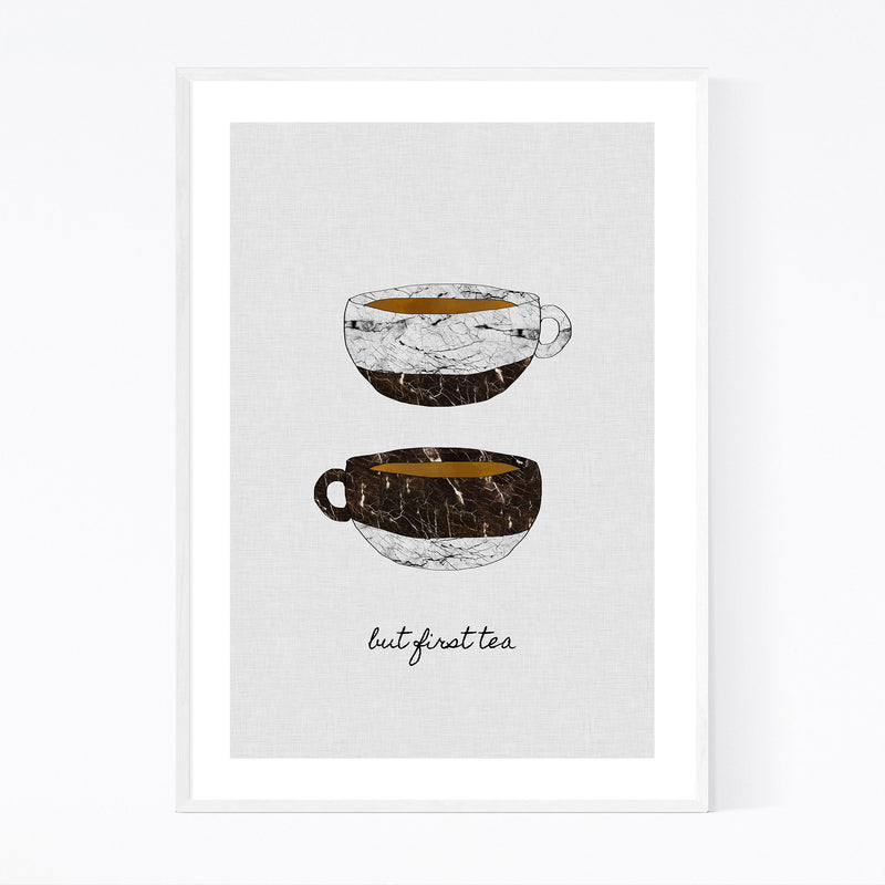 Cute Tea Cup Kitchen Typography Framed Art Print