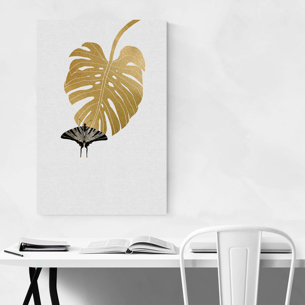 Butterfly & Monstera Botanical Art Print