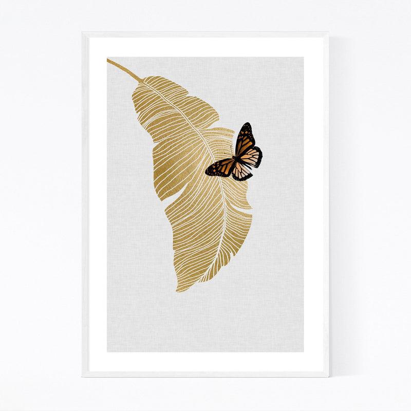 Butterflu & Palm Tree Botanical Framed Art Print