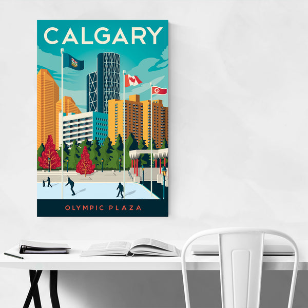 Retro Calgary Travel Print Art Print