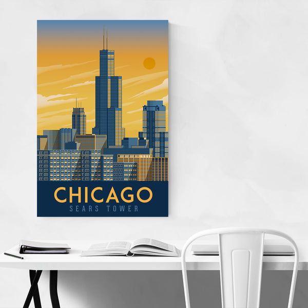 Minimal Chicago Travel Print Art Print