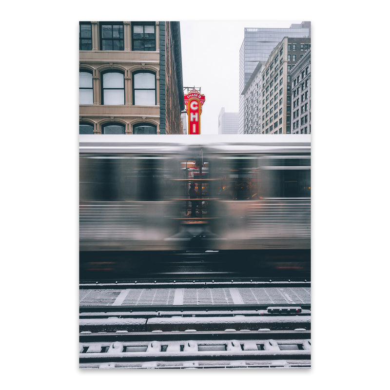 Chicago Theater L Train City Metal Art Print