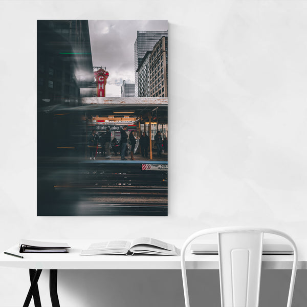Chicago Theater L Train City Art Print