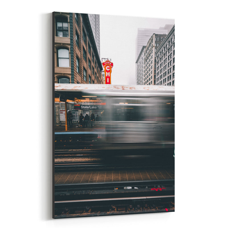 Chicago Theater L Train City Canvas Art Print