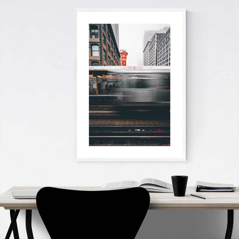 Chicago Theater L Train City Framed Art Print