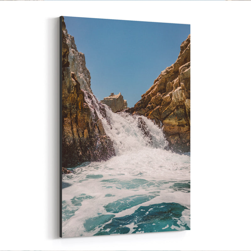 Waterfall Beach Rocks Cabo Canvas Art Print