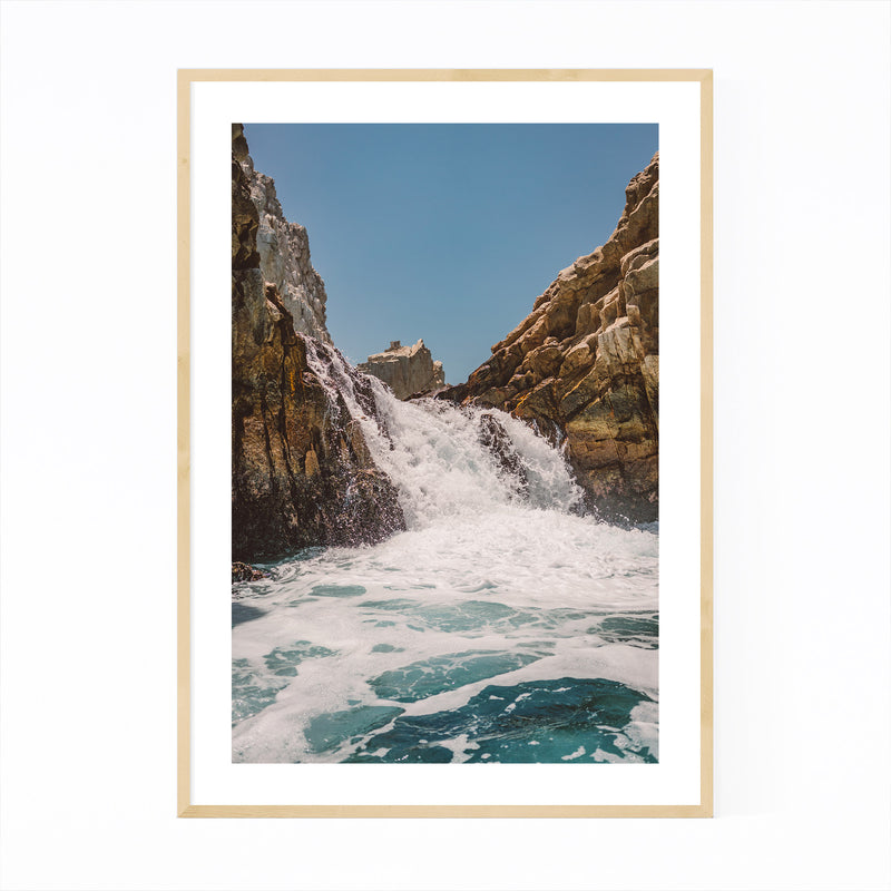 Waterfall Beach Rocks Cabo Framed Art Print