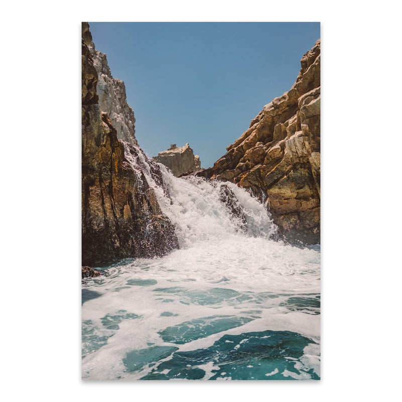 Waterfall Beach Rocks Cabo Metal Art Print
