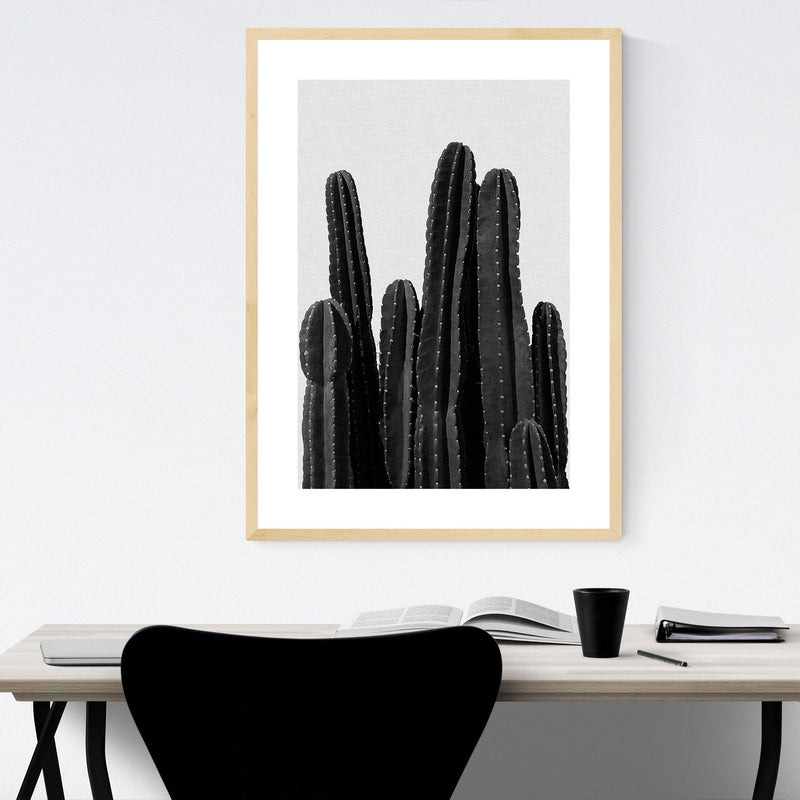 Cactus Desert Minimal Photo Framed Art Print