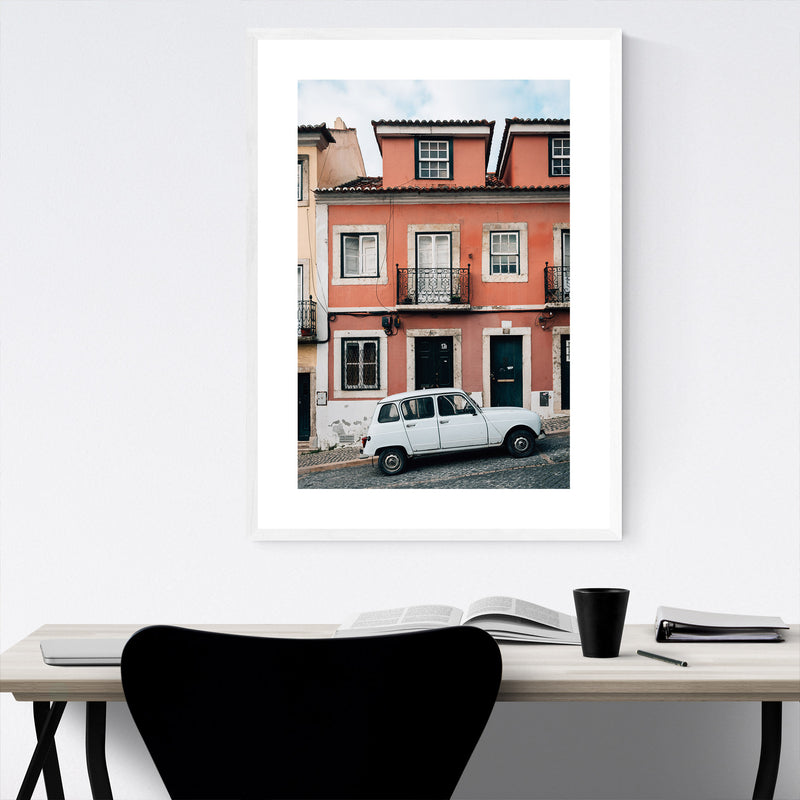 Old Car Street Lisbon Portugal Framed Art Print