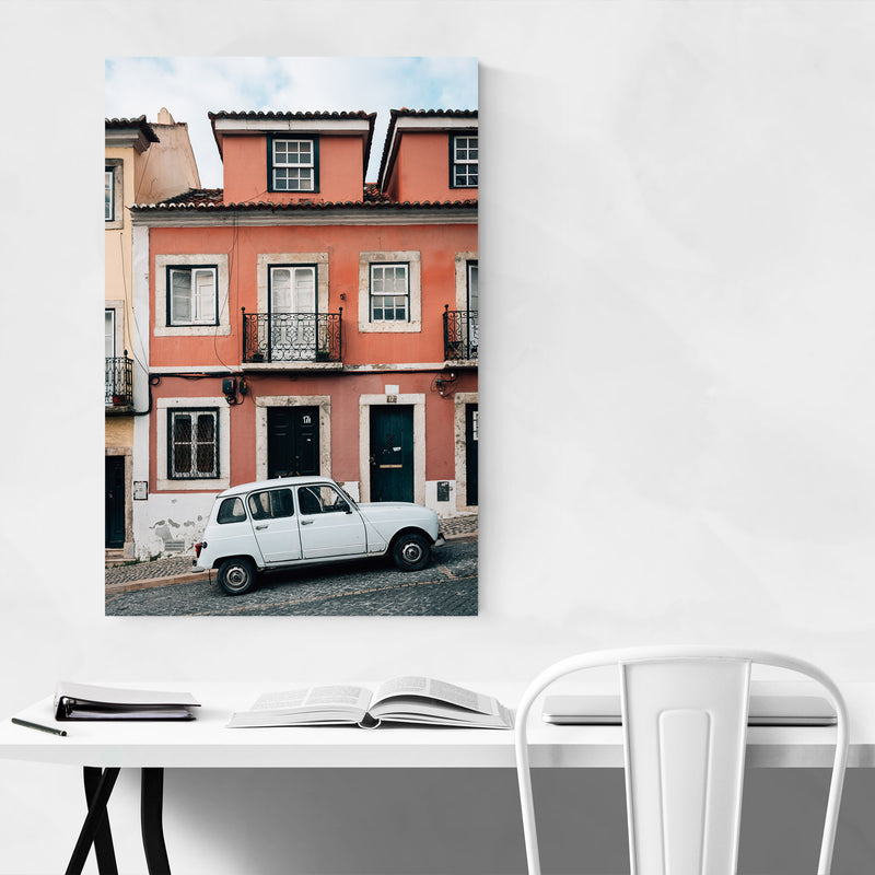 Old Car Street Lisbon Portugal Metal Art Print