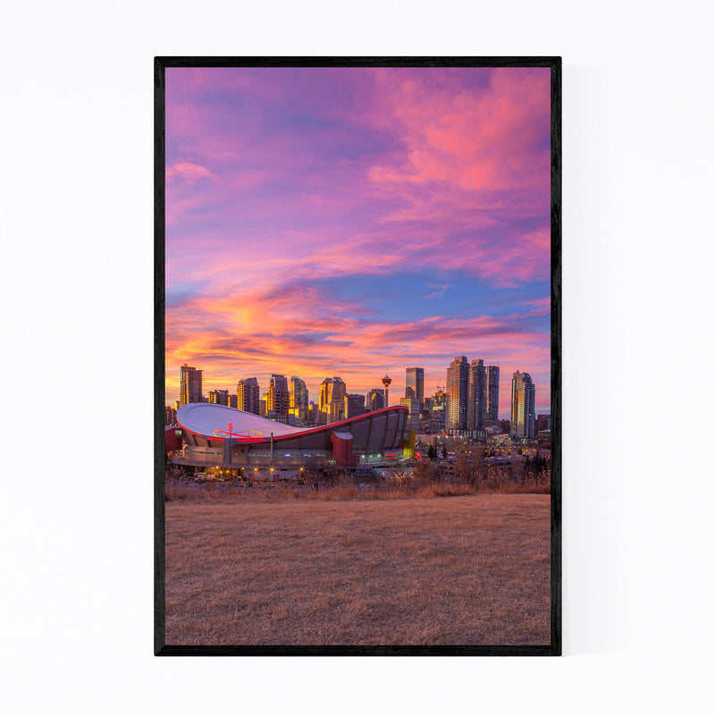 Calgary Alberta City Skyline Framed Art Print