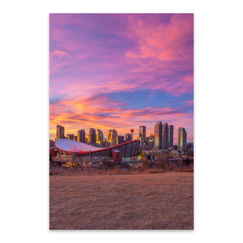 Calgary Alberta City Skyline Metal Art Print
