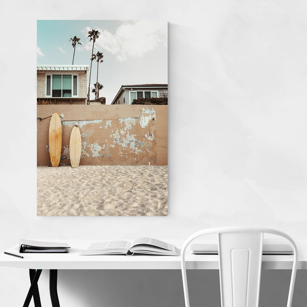 Surfboard Palm Trees San Diego Art Print