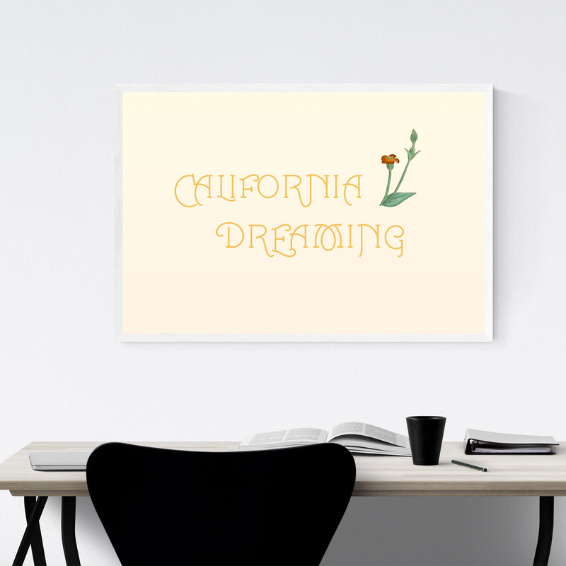 California Dreaming Typography Framed Art Print