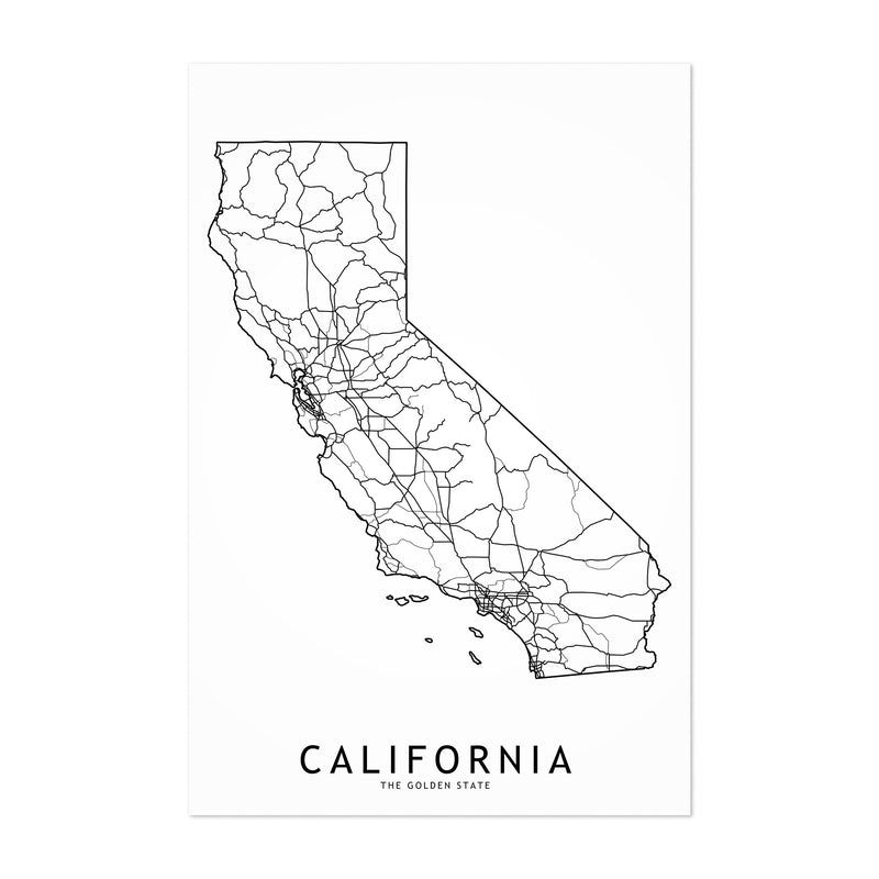 California Black & White Map Art Print