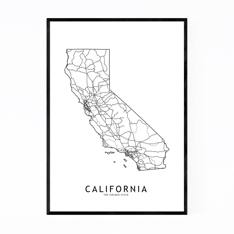 California Black & White Map Framed Art Print