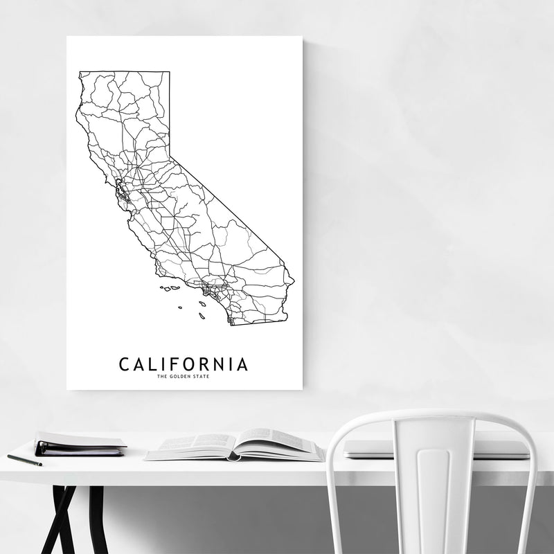 California Black & White Map Metal Art Print