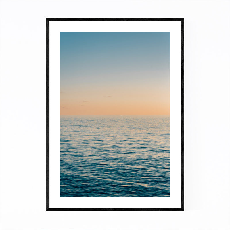 Coastal Beach Ocean Sunset Framed Art Print