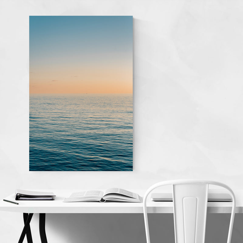 Coastal Beach Ocean Sunset Canvas Art Print