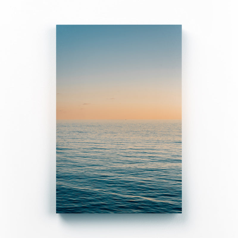 Coastal Beach Ocean Sunset Mounted Art Print