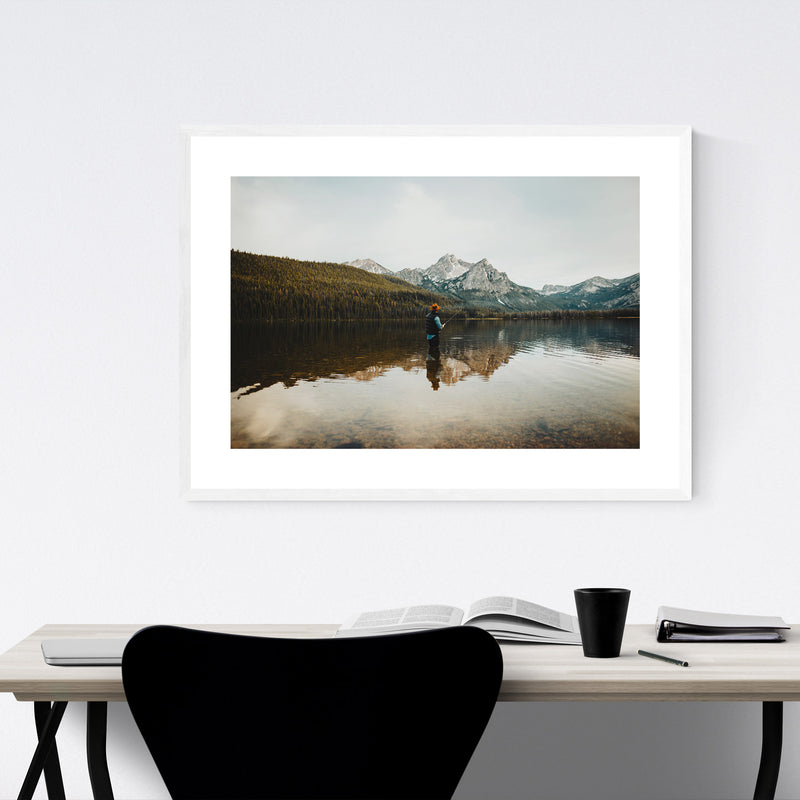 Sawtooth Mountains Idaho Lake Framed Art Print