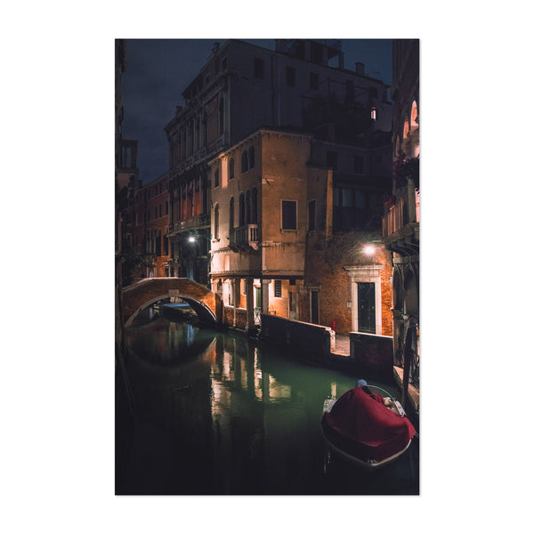 Venice Italy Canal at Night Art Print