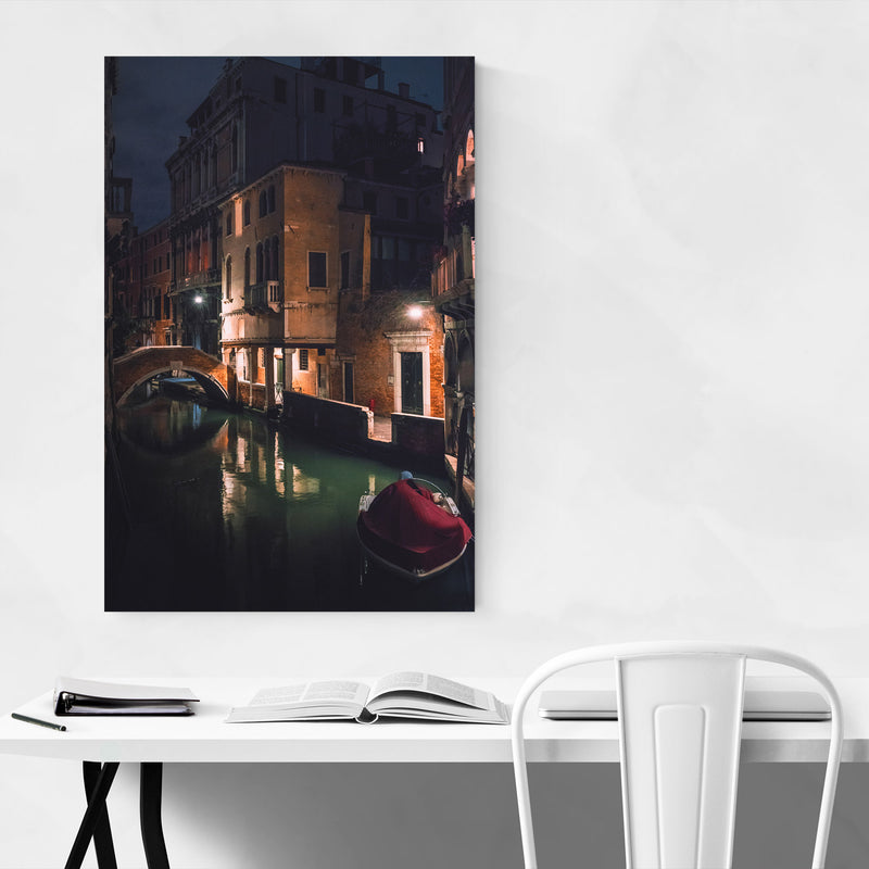 Venice Italy Canal at Night Canvas Art Print