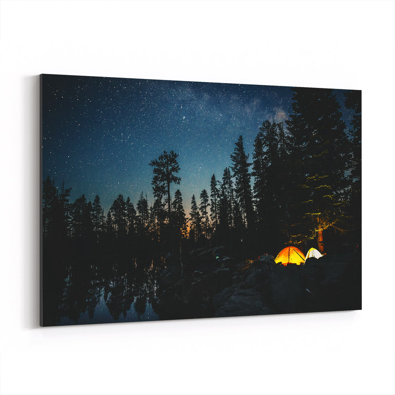 Camping Lake California Forest Canvas Art Print