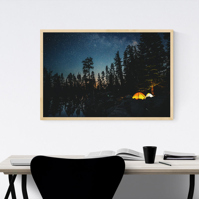 Camping Lake California Forest Framed Art Print