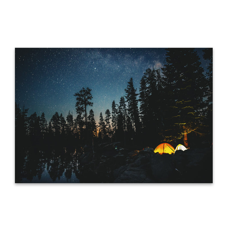 Camping Lake California Forest Metal Art Print