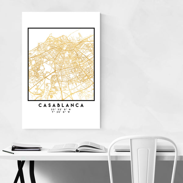 Minimal Casablanca City Map Art Print