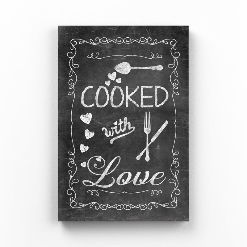 Chalkboard Kitchen Cooking Love Mounted Art Print