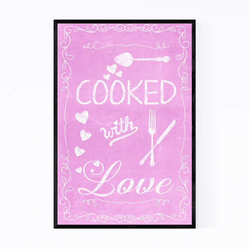 Cute Kitchen Cooking Pink Love Framed Art Print
