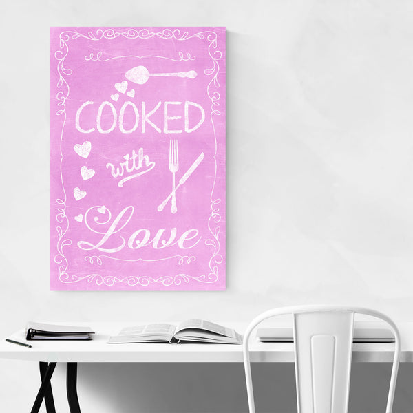Cute Kitchen Cooking Pink Love Art Print