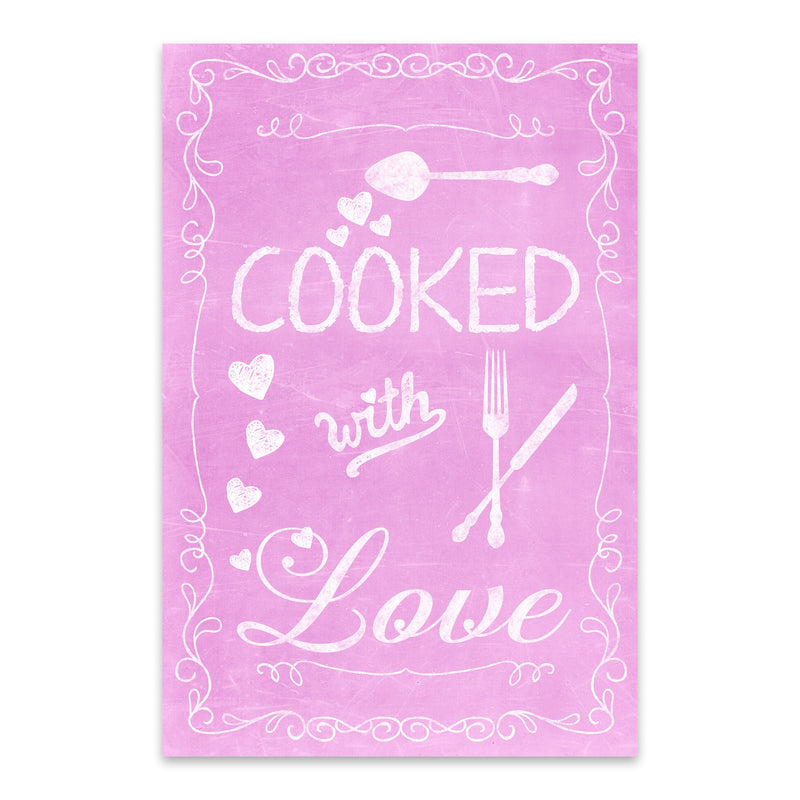 Cute Kitchen Cooking Pink Love Metal Art Print