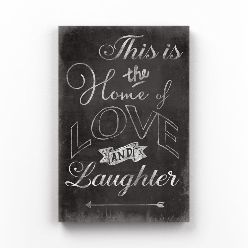 Cute Home Family Love Black Sign Mounted Art Print