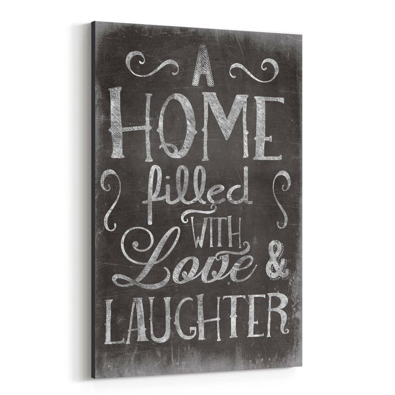 Cute Home Family Love Black Sign Canvas Art Print