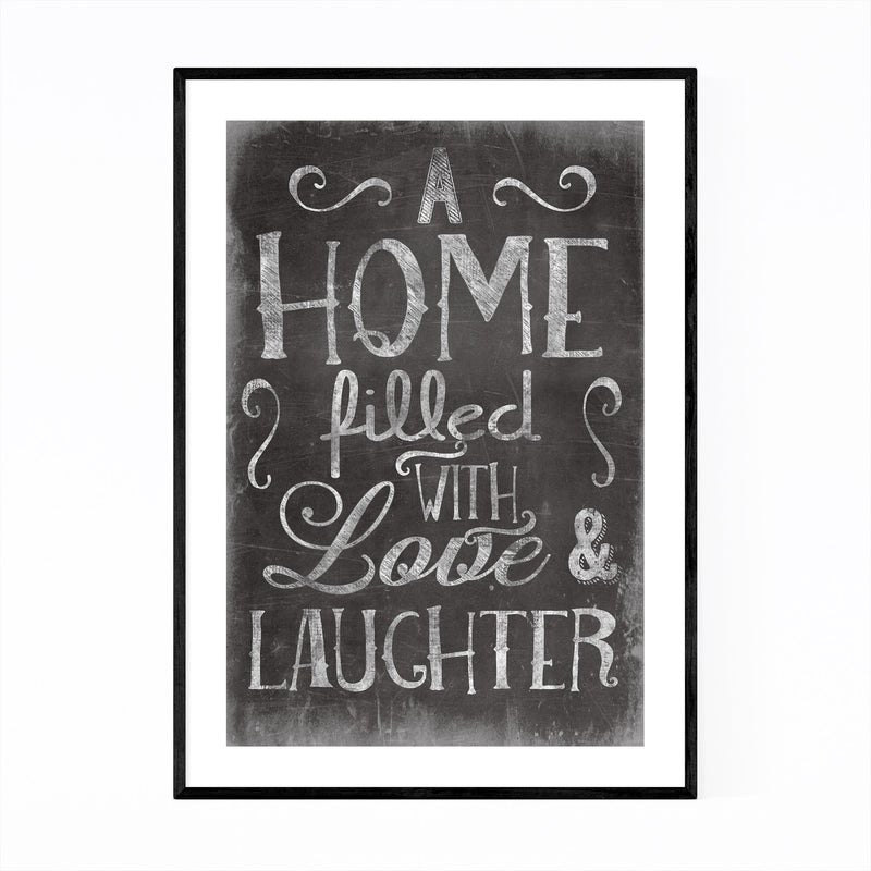 Cute Home Family Love Black Sign Framed Art Print