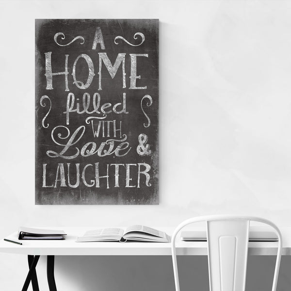 Cute Home Family Love Black Sign Art Print