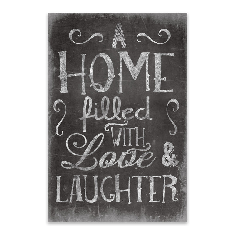 Cute Home Family Love Black Sign Metal Art Print