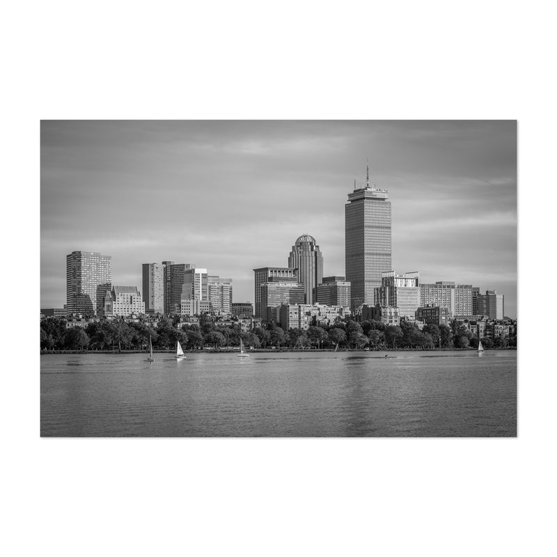 Black White Boston City Skyline Art Print