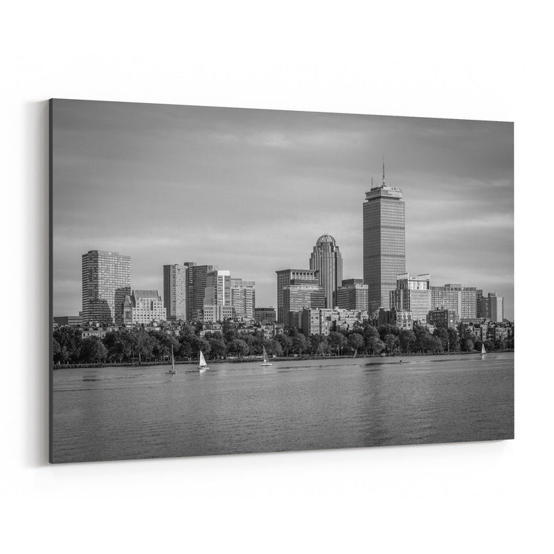 Black White Boston City Skyline Canvas Art Print