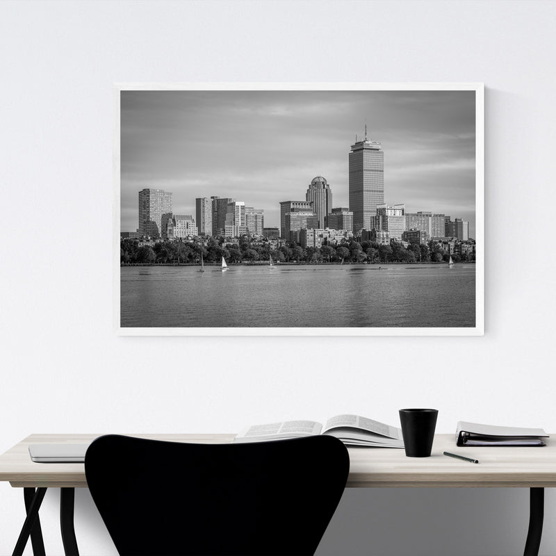 Black White Boston City Skyline Framed Art Print