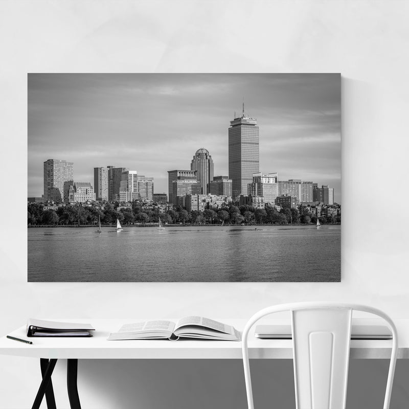 Black White Boston City Skyline Metal Art Print